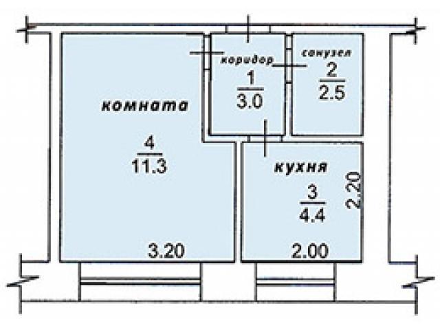 Продам 1-комнатную квартиру 22 кв.м - 1/4